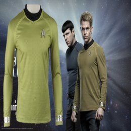 Star Trek Movie Costumes Canada - New Arrival Hot Movie COS Star Trek Into Darkness Fleet Capt Kirk Cosplay Costume Halloween Customized Shirt