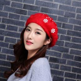 $enCountryForm.capitalKeyWord Canada - Autumn And Winter Fashion Women Pull Pull Cap Pearl Hat Rabbit Fur Berets Grace Ladies Personality Cap Mix Colors