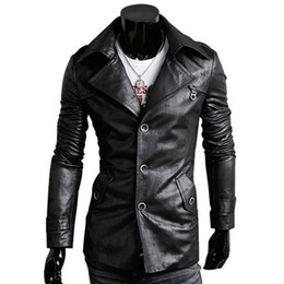 Barato Jaqueta De Couro Leve Xl-Mens Pu Leather Jacket / Men's Slim Fit Leather Suit / Men's Suit / Preto, castanho escuro, castanho claro 95866