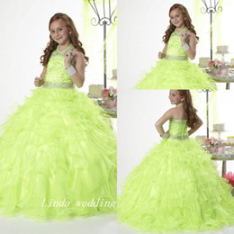 images for cupcakes Australia - Green Princess Girl's Pageant Dress Good Quality Organza Beaded Party Cupcake Flower Girl Pretty Dress For Little Kid