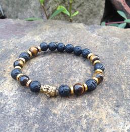 Buddha head tigers eye online shopping - SN0378 make you own beaded bracelet Man tiger eye gold buddha head bracelet lave stone jewelry mala jewelry bracelets