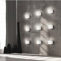 Ceiling lights baCkgrounds online shopping - New LED Sugar Ice Cube Wall Lamp White Glass Ceiling Light Background Light Bar Asile Ice Brick Lamp Backdrop Light Indoor Wall Light