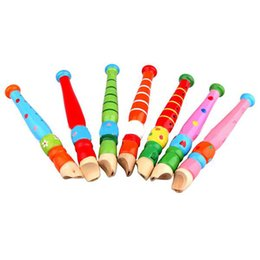 Musical whistle online shopping - Carl Orff Colorful Fun Baby Kids Wooden Vertical Flute Whistle Musical Education Toys Portable Developmental Instrument Hole
