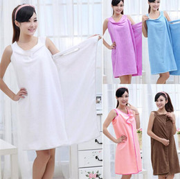 ladies cotton gowns 2020 - Wholesale Women Lady SPA Shower Robe Body Wrap Bath Towel Bathrobe Swimwear Dress Gown Absorbent Free Shipping cheap lad