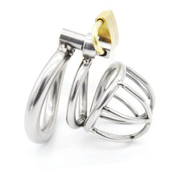 Smallest Male Steel Chastity Canada - TOP Stainless Steel Super Small Male Chastity device Adult Cock Cage With Curve Cock Ring BDSM Sex Toys Bondage Chastity belt