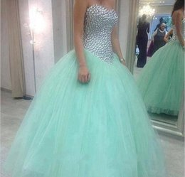 Les Filles S'habillent Pas Cher-Mint Green Quinceanera Robes Sweetheart majeur perles robe de bal nuptiale Robe Retour Lace Up étage Tulle Tutu robe Pageants princesse