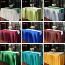 $enCountryForm.capitalKeyWord NZ - Wedding reception decorations luxury pleated cloth table skirts Multicolor rectangle wedding table cloths Customized size free shipping