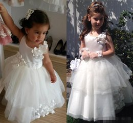 Barato Vestidos De Chiffon Azul Para Crianças-Cute White FlowerGirl Ball Gowns 2016 Flower Girls Vestidos para casamentos Kids Tulle Long Children Little Girl Dress Up Dress Handmade Flowers