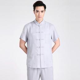 $enCountryForm.capitalKeyWord Canada - Free shipping Short Sleeve Tang suit Chinese Traditional clothing Kung Fu Shirt mandarin collar Printing Chinese Shirt Linen Chinese Top