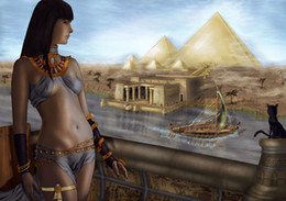 $enCountryForm.capitalKeyWord NZ - Egypt Pyramids The Cat HD Art Print Original Oil Painting on Canvas high quality Home Wall Decor Multi Size,Free Shipping,Framed