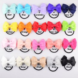 2017 hair bow holders wholesale 7.5*5cm bowknot size high quality grosgrain ribbon hair bow with same color elastic headband for pony tail holder for kids headwear hairband cheap hair bow holders wholesale