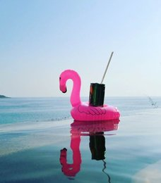 Wholesale Flamingos Inflatable Cup Holder Bottle Holder Pink Flamingos Floating Can Holder Lovely Pool Bath Toys for Outdoor Play