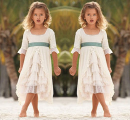 Kids party wear gown dress online shopping - 2016 Square Neckline Flower Girl Dresses For Beach Wedding Half Long Sleeves Chiffon Tiered Girls Pageant Gowns Kids Formal Wear Party Dress