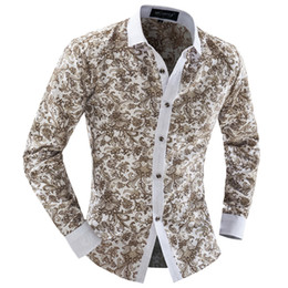 Ingrosso Camicia floreale all-ingrosso 2016 Abito estivo Moda uomo manica lunga camicia casual da uomo sottile camicie chemise homme marque