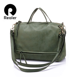 $enCountryForm.capitalKeyWord Canada - Wholesale-REALER brand women handbag with two straps high quality PU leather tote bag retro shoulder messenger bags green gray blue red