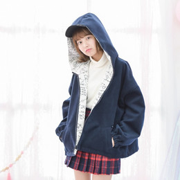 $enCountryForm.capitalKeyWord Canada - M14-2017 New Both Sides Wear Female Woolen Coat Navy Blue or White on Black Stationery Graffiti Personality Blends Coat