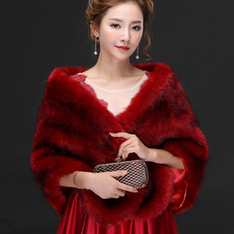 Barato Casacos De Peles De Avestruz-Resl photo Burgundy Luxurious Avestruz Feather Bridal Shawl Fur Wrap Casamento Shrug Coat Noiva Inverno 2018 Wedding Party Boleros Jacket Cloak