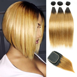 Dark blonDe hair Dye online shopping - Straight Bundles with Lace Closure Free Middle Part T B Dark Root Honey Blonde Ombre Human Hair Weave Colored Brazilian Hair