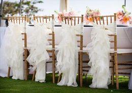 $enCountryForm.capitalKeyWord Canada - Custom Made 2016 Feminine Ivory Organza Chair Covers Ruffles Crystals Chair Sashes Romantic Wedding Decorations Wedding Supplies