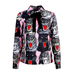 Chemise De Travail De Bureau De Femme Pas Cher-Femmes Tiger Print Blouse 2017 Automne Hiver Marque Designer Office Lady Travail Elegant Wild Animal Shirts Turn Down Collar Bow Tie Tops