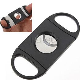 Venta al por mayor de Pocket Plastic Acero inoxidable Cuchillas dobles Cuchillo cortador de cigarros Tijeras Tabaco Negro Nuevo # 2780