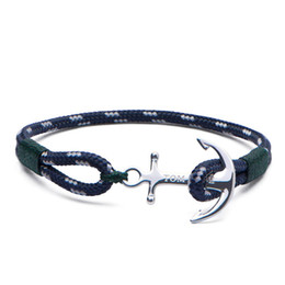 bracelet famous brands UK - Famous brand 4 size Handmade Southern Green thread chains bracelet stainless steel tom hope anchor charms bracelet with box and tag TH11