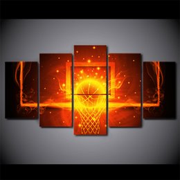 fire frame Australia - 5 Pcs Set Framed HD Printed Fire Basketball Circle Backboard Wall Canvas Print Poster Asian Modern Art Oil Paintings Pictures