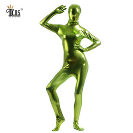Femme Verte Pas Cher-Ones gros-Crazy Lemon Vert Zentai Metallic femmes Unitards Halloween Cosplay Dancewear Footed seconde peau complets Costumes de corps