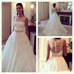 Plus Size Arabic Nigerian Wedding Dresses 2018 Beadin Crystal Sheer Bateau Neck Tulle A Line Bridal Gowns Long Sweep Train Dress For