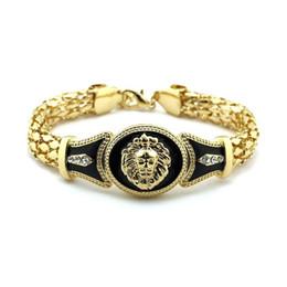 $enCountryForm.capitalKeyWord Canada - High Quality Alloy Vintage Rhinestone Bracelet Fashion lion head Bangle Lovers Gifts Gold Silver