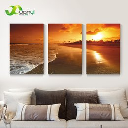 seascape canvas prints NZ - 3 Panel Seascape Oil Canvas Painting Sunset Beach Wall Art Picture For Living Room Modern Printing Unframed PR1288