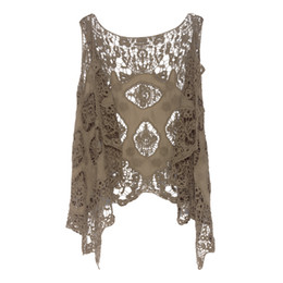 Barato Colete Assimétrico-Jastie Hippie Froral Patch Design Vest Retro Vintage Crochet Lace Cardigan Summer Beach cobrir Asymmetric Open Stitch Kimono Z-63
