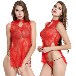 men sex apparel 2020 - sexy lingerie hot sex underwearred lace cheongsam sexy costumes Exotic Apparel Baby Dolls women intimates full slips nig