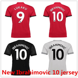 21beecff9 Ibrahimovic 10 Pogba Lukaku Mata Shirt Home Red Away Black Third 17 18 Soccer  Jerseys Custom Football Uniforms Kit Thai Quality Size  S-XL