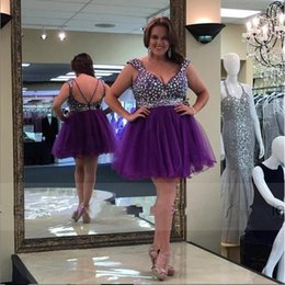 Robes Pourpre À Perles Courtes Pas Cher-Plus tailles Robes Homecoming 2016 avec Sparking Crystal Beaded vestidos de Festa Purple Sexy Backless Shortant Robes Party