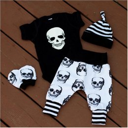 wholesale rompers bloomers Australia - Baby Boy Cotton Blends Halloween Skull Rompers Four Pieces Kids Onesies Bodysuit Infant Short Sleeve Jumpsuits Fashion Children Bloomers