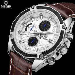 racing man watches Australia - Authentic MEGIR quartz male watches Genuine Leather watches racing men Students game Run Chronograph Watch male glow hands