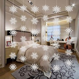 white hanging decoration Canada - Christmas Decor White Laser Cut Snowflakes Bell Socks Deer Shaped Garland Hollow out Paper Snowman Candle Hanging Banner Kids Room Decor