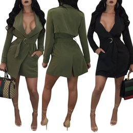 Cou Chaud Des Femmes Pas Cher-2017 Hot Sale Exotic designer robe décontractée femme noir deep v neck manche manches robe Autumn army green back split dress