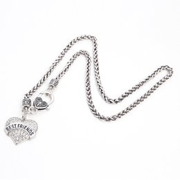 Wholesale Drop Shipping New Arrival rhodium plated zinc studded with sparkling crystals BEST FRIENDS heart pendant wheat chain necklace