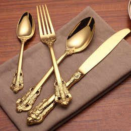stainless china forks NZ - 4 Pcs Engraving Vintage Western Gold Plated Dinnerware Dinner Fork Knife Set Golden Cutlery Set Stainless Steel Tableware