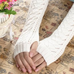 Keyboard gloves online shopping - New Fashion Winter Autumn Warm Hollow Out Gloves Keyboard Leak Finger Knit Gloves High Quaity Cheap WholesaleJan