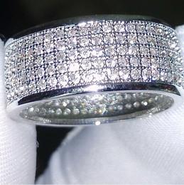 Großhandel Großhandel - 250Pcs Schmuck Diamonique simuliert Diamant weiß voller Topas 10KT White Gold gefüllt Frauen Ehering Ring Geschenk Sz 5-11