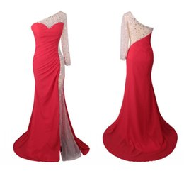 Barato Vestidos De Noite Uma Fenda Do Ombro-Real Photo Red Mermaid Pageant Dresses 2018 Um ombro com manga comprida Crystal Chiffon Side Slits Evening Prom Dress Vestidos Sexy Cheap