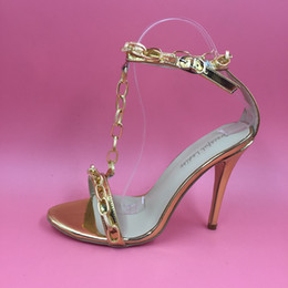 cheap high heel stilettos UK - 2016 Real Bridal Wedding Shoes Gold Chain Sexy T Strap High Thin Heels Sexy Custom Made Plus Size Shoes Ladies Party Shoes Cheap