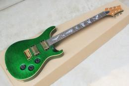 private stock guitars 2019 - Private Stock SE Paul Allender Qulit Maple Top Green Electric Guitar White MOP Bat Fingerboard Inlay Tremolo Bridge Gold