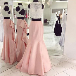 5791275d5 2017 New Two Pieces prom Dress High Neck Sleeveless Luxury Beaded Sequins  Crop Top Open Back Blush Pink Mermaid Skirt Ruffled Evening Gown