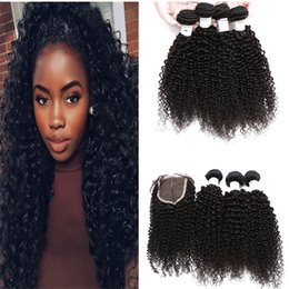 $enCountryForm.capitalKeyWord Canada - Kinky Curly Hair With Closure Mongolian Curly Hair With Closure Afro Kinky Curly Human Hair Weave 3 Bundles With Closure