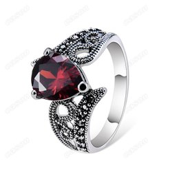 Red Band Canada - Brand Cason High Quality Women Simple red crystal Band Ring Silver Plated Red Clour Drop Shipping RJ-0039