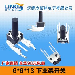 13mm Buttons Canada - Wholesale-horizontal lower bracket 6 * 6 * 13MM long legs touch switch with stand side by vertical jog button 6X6